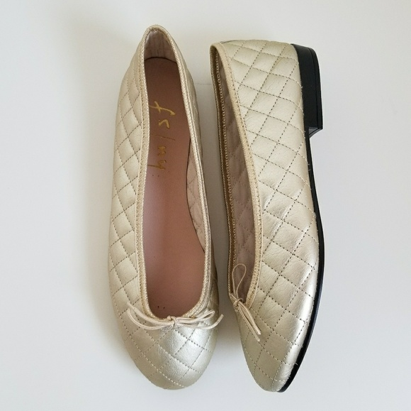 60% off French Sole Shoes - French Sole FSNY Metallic Gold Quilted ... : french sole quilted ballet flats - Adamdwight.com